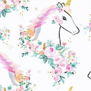 sweet unicorn floral-rainbow