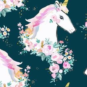 sweet unicorn floral dark