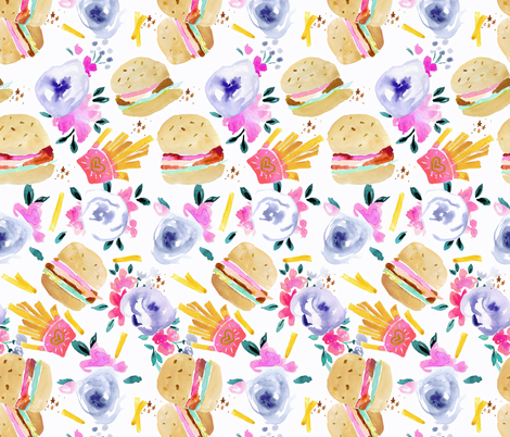burgers and flowers-White fabric by crystal_walen on Spoonflower - custom fabric
