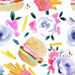 burgers and flowers-White