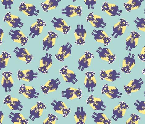 "blackface-blue-cream-12""-repeat fabric by strange_phenomena on Spoonflower - custom fabric"