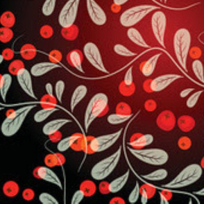 Exotic White vines designs with red retro circles