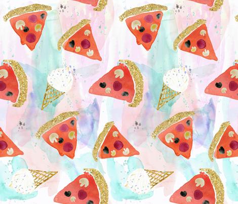 pizza + ice cream fabric by crystal_walen on Spoonflower - custom fabric