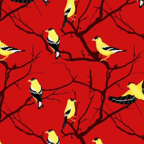 Goldfinches  fabric by jannasalak on Spoonflower - custom fabric
