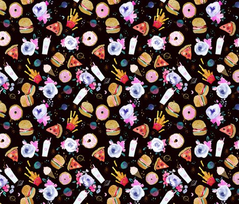 Fast Food in Space fabric by crystal_walen on Spoonflower - custom fabric