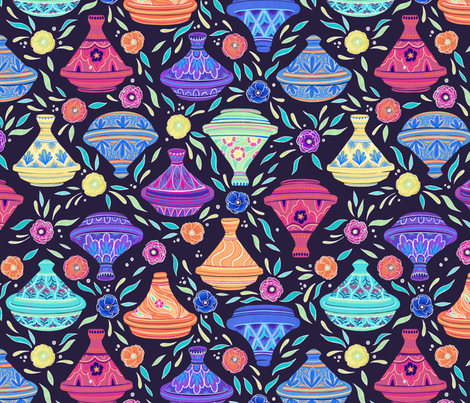 Tagines on Indigo fabric by landpenguin on Spoonflower - custom fabric