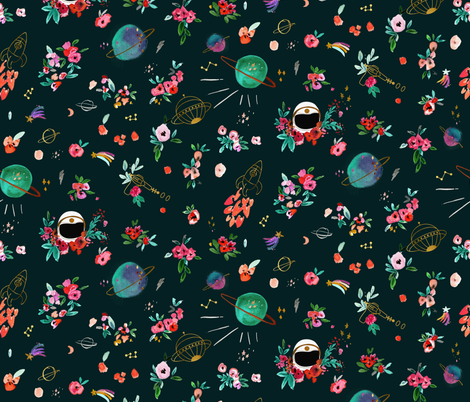 Floral Space fabric by crystal_walen on Spoonflower - custom fabric