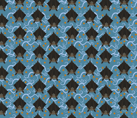 Bats roost on blue spiral trees in an orange starry sky fabric by donnadavieshallowstyle on Spoonflower - custom fabric