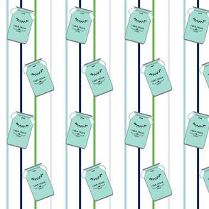 mint jugs on thin stripes 5 -navy mint green gray on white