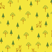 Deer in the Deciduous Forest - Yellow