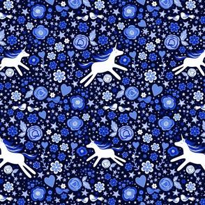 unicorn 2017 Amelia floral blue dark