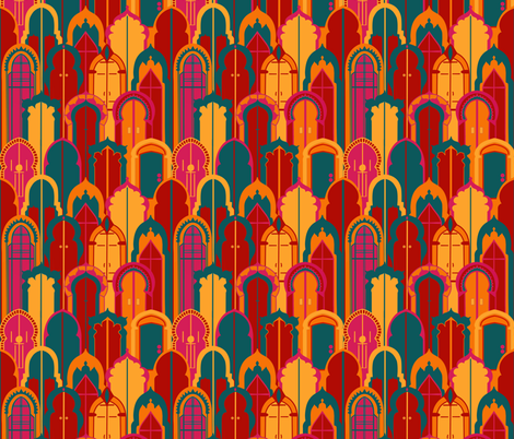 Moroccan Doors fabric by new_branch_studio on Spoonflower - custom fabric