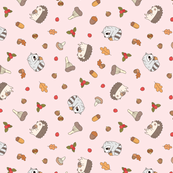 Hedgehog and Raccoon Pattern in baby pink background