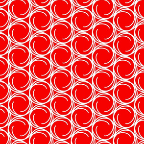 White Swirls on Christmas Red