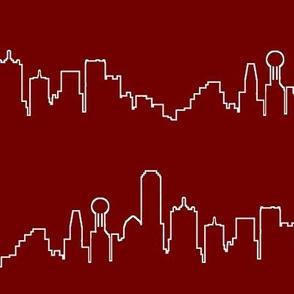 Dallas, TX Outline on Burgundy // Large