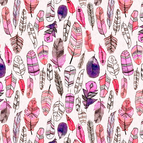 Coral, Purple And Magenta Patterned Feathers  fabric by tigatiga on Spoonflower - custom fabric