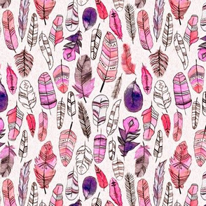 Coral, Purple And Magenta Patterned Feathers