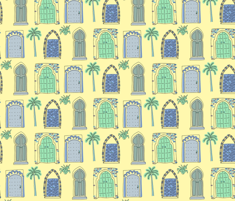 Morocco Doors Blue & Green fabric by paperondesign on Spoonflower - custom fabric