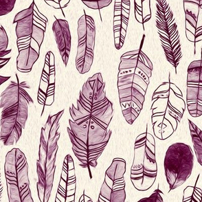 Burgundy And Beige Patterned Feathers