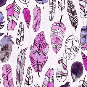 Magenta, Cornflower Blue And Black Patterned Feathers