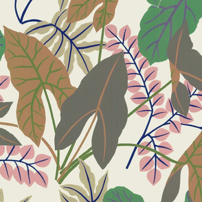 Jungle Leaves (pink and brown)
