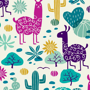 Jumbo Llamas in the desert turquoise/purple