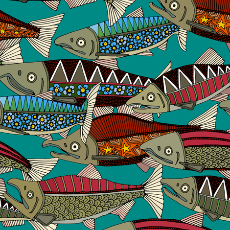 Alaskan salmon teal smaller fabric by scrummy on Spoonflower - custom fabric