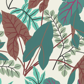 jungle leaves (teal/green)