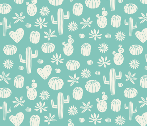 Jumbo Llama Cactus mint fabric by heleen_vd_thillart on Spoonflower - custom fabric
