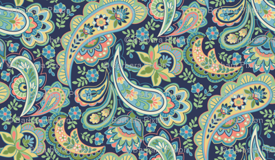 Pink and Blue Paisley