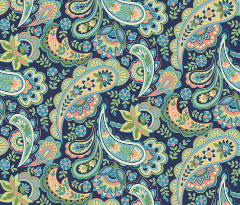 Pink and Blue Paisley fabric by barbarapixton on Spoonflower - custom fabric