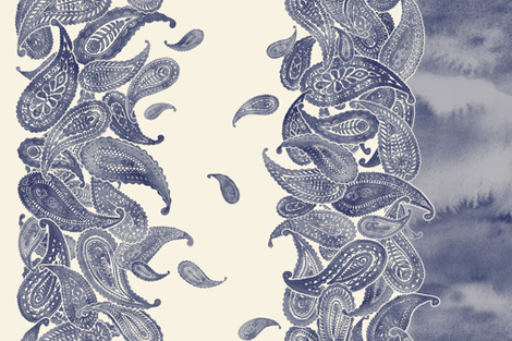 Blue Grey & Cream Boho Paisley Double Border Print fabric by micklyn on Spoonflower - custom fabric