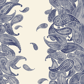 Blue Grey & Cream Boho Paisley Double Border Print