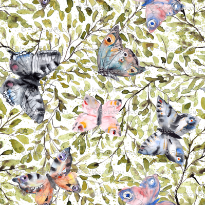Butterflies on green leaves splashy watercolor