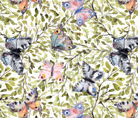 Butterflies on green leaves splashy watercolor fabric by rebecca_reck_art on Spoonflower - custom fabric