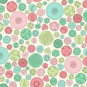 Vintage Buttons - Coral and Green