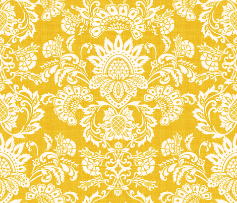 damask yellow fabric by chicca_besso on Spoonflower - custom fabric