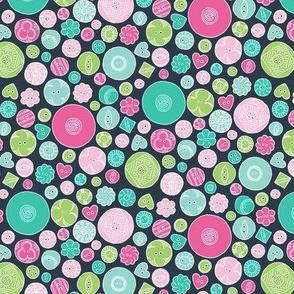 Vintage Buttons Pink and Green on Dark Charcoal Grey