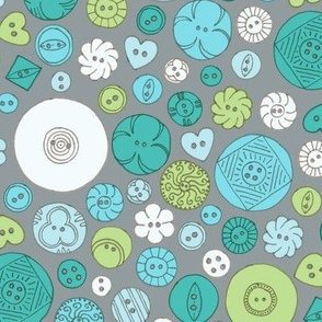 Vintage Buttons Teal and Grey