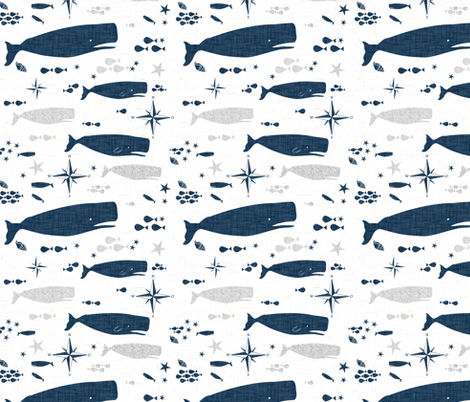 Sperm Whale smaller scale fabric by bruxamagica on Spoonflower - custom fabric