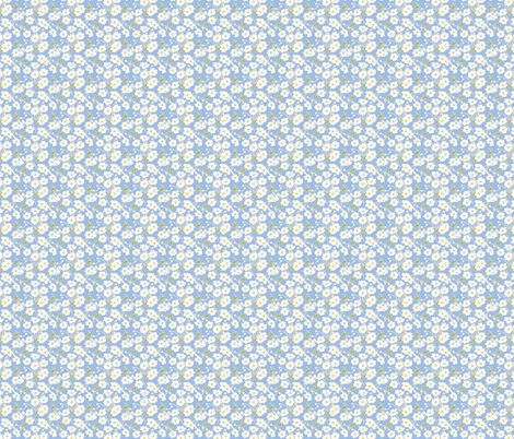 Japanese Anenomes in Blue Tiny fabric by anntuck on Spoonflower - custom fabric