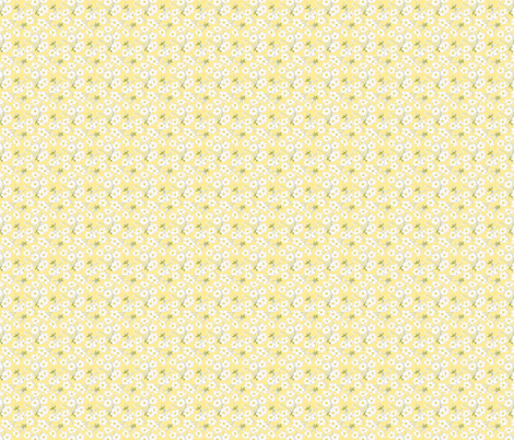 Japanese Anenomes in Yellow Tiny fabric by anntuck on Spoonflower - custom fabric