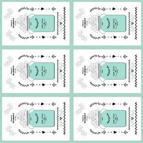 quilt squares 4 - flower market jug- mint