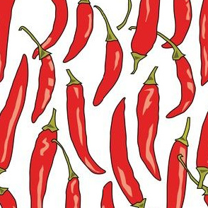 red chili peppers on white