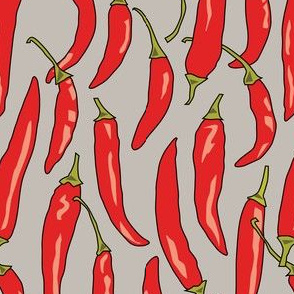 red chili-peppers-on linen