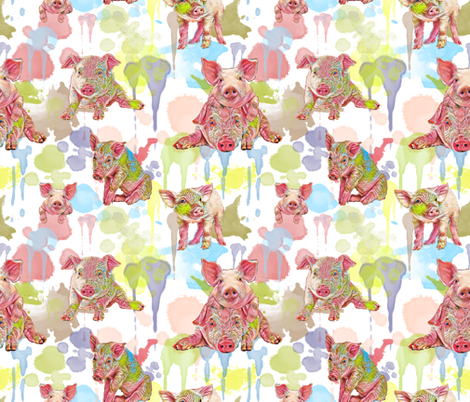 PIGLETS IN WATERCOLOR fabric by bluevelvet on Spoonflower - custom fabric