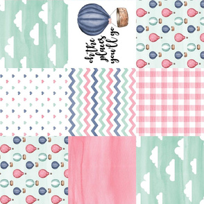 Hot Air Balloon//Oh the places you'll go - Wholecloth Cheater Quilt - Rotated