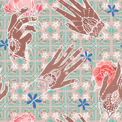 White morrocan tattoo & jasmin floor fabric by appaloosa_designs on Spoonflower - custom fabric
