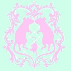 Rat Damask - Mint & Pink