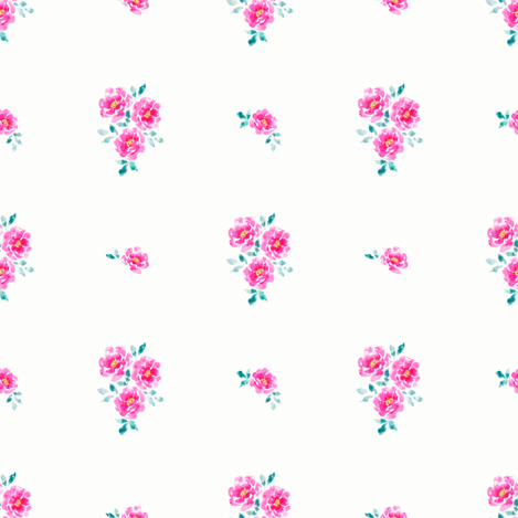 Dainty Pink Watercolor Roses fabric by nicolemedlin on Spoonflower - custom fabric